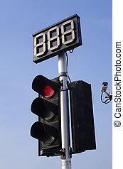 tráfico, luz roja, y, cuenta atrás
