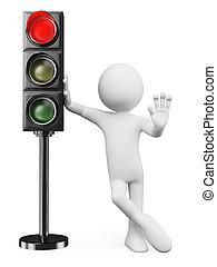 tráfico, personas., luz, rojo, 3d, blanco