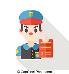 tráfico, policía, plano, icono