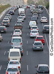 tráfico, prisa, carriles, hora