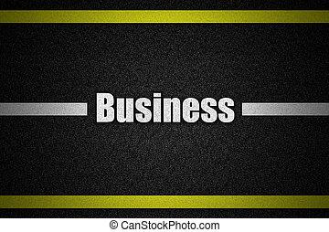 tráfico, superficie camino, con, texto, empresa / negocio