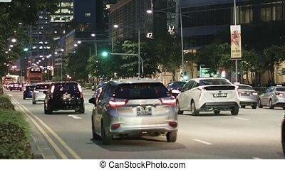 tráfico, timelaps, camino, singapur