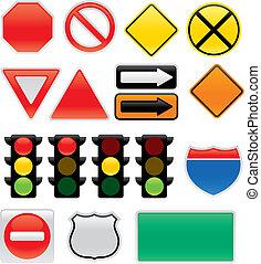 tráfico, un, mapa, señales, y, símbolos
