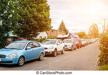 tráfico, valdivia, atasco