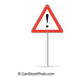 tráfico, vector, señal de peligro