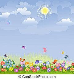 trávník, dále, jeden, slunný den