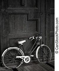 trä, årgång, cykel, dörr, svart, stor, vit, åldrig