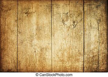 trä, årgång, plankor, bakgrund, brun