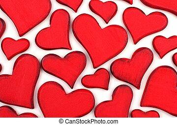 trä, årgång, valentinkort, bakgrund, hjärtan, dag, röd