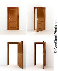 trä, över, dörr, vit fond