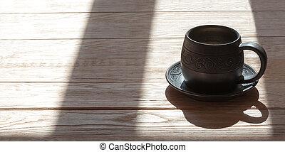 trä, över, handgjord, sejdel, bakgrund, mjölk, keramik