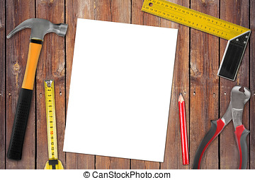 trä, arbete, bakgrund, tom, redskapen, sida