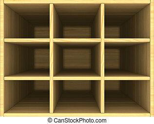 trä, avbild, box., tom, 3