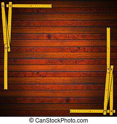 trä, bakgrund, med, linjal, ram