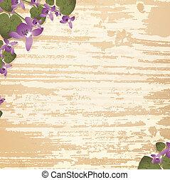 trä, bakgrund, med, viol blommar