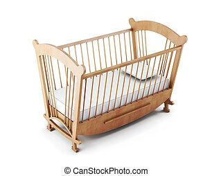 trä, barnsäng, säng, isolerat, vita, bakgrund., 3, framförande