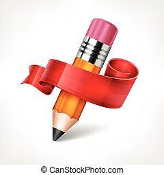 trä blyertspenna, vektor, band, illustration