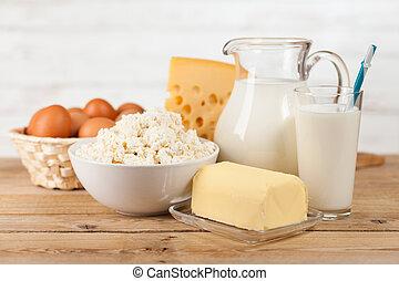 Trä, bord, Kruka, mjölk