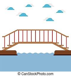 trä bro, över, den, flod, vektor