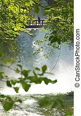 trä bro, över, den, vattenfall