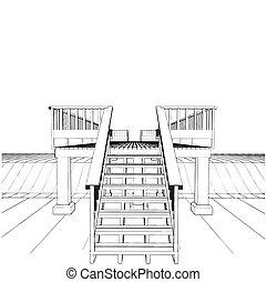 trä bro, över, kanal