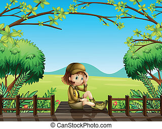 trä bro, flicka, sittande