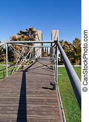 trä bro, in, a, trädgård