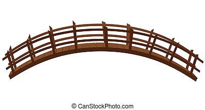 trä bro, isolerat, på, den, vit