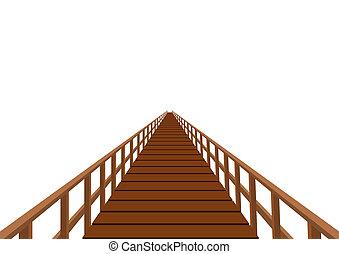 trä bro, med, a, ledstång