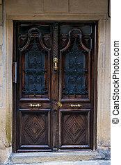 trä, byggnad, gammal, dörr