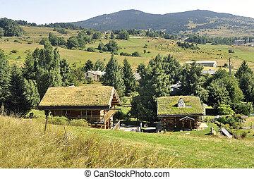 trä, chalet, med, a, tak, med, gräs, in, a, by, in, den, pyreneerna