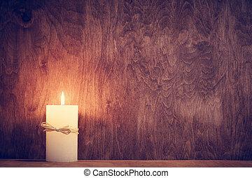 Trä,  chistmas, bakgrund, Glödande, stearinljus, vägg