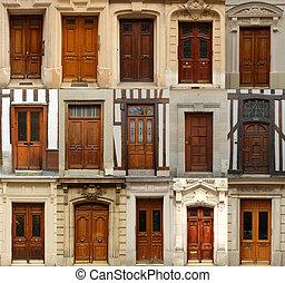 Trä,  collage, dörrar