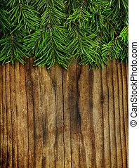 Trä, dekoration, träd, bakgrund, Årgång, jul