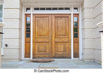 trä, dubbel dörr, storslagen, hänrycka, till, a, hem