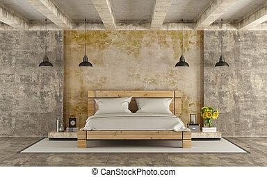 trä, dubbel, grunge, rum, säng