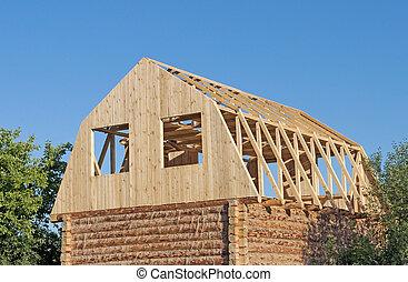 trä, färsk, konstruktion, hus