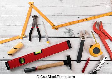trä, förbättring, konstruktion, diy, bakgrund, hem, vit, redskapen