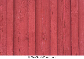 trä, fasad, röd