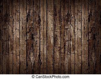 trä, fence., gammal