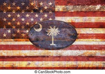 trä, flagga, carolina., syd