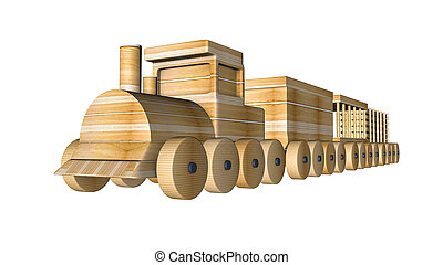 trä, framförande, tåg, white., vagnar, 3