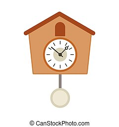 trä gök klocka, årgång, ikon, stil, lägenhet