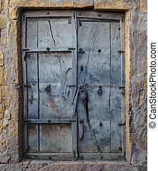trä, gammal, dörr, bakgrund, årgång