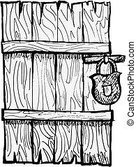 trä, gammal, dörr