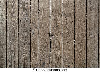 trä, gammal, plankor, ridit ut, texture.
