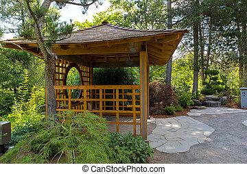 trä, gazebo, hos, tsuru, ö, japanska trädgård