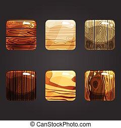 trä, glänsande, knapp, set fyrkantiga