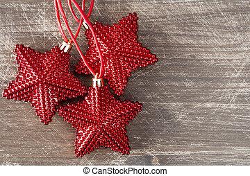 Trä, glänsande, Stjärnor, bakgrund, röd
