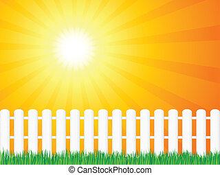 trä, gräs, staket